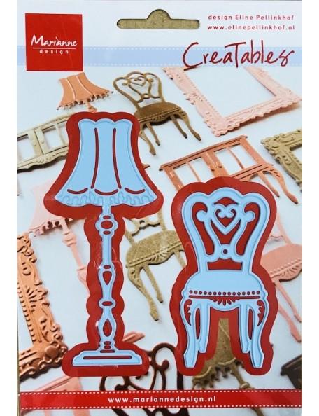 """Marianne Design Creatables Troquel Eline's Silla y Lampara, 2.75"""" & 3.75"""" DESCATALOGADO"""