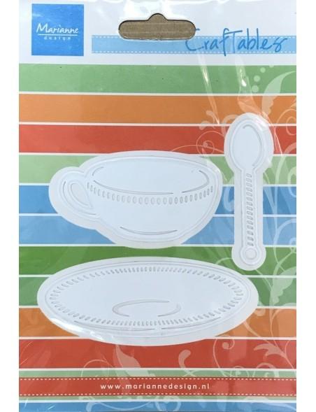 "Marianne Design Craftables Troqel Taza de té, plato, cuchara, Up To 2.5""X1.5"""