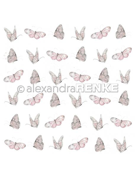 alexandra renke cardstock de una cara 30,5x30,5 cm, mariposas rosa/Schmetterling rose