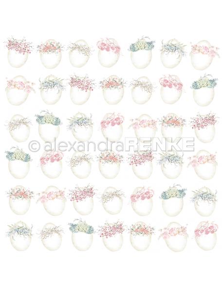 alexandra renke cardstock de una cara 30,5x30,5 cm, Huevos Con Guirnaldas/Eier mit Kränzen