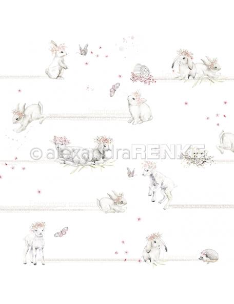 alexandra renke cardstock de una cara 30,5x30,5 cm, Conejos y ovejas/Hasen und Schafe
