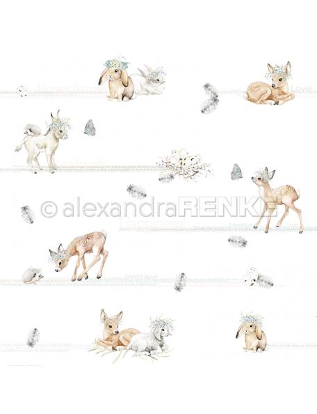 alexandra renke cardstock de una cara 30,5x30,5 cm, Ciervos y amigos/Rehe und Freunde