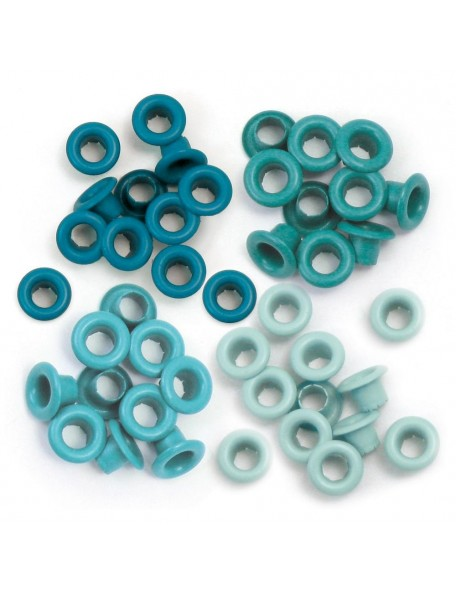 We R memory keepers ojales/Eyelets Aqua 15 de cada color, total 60