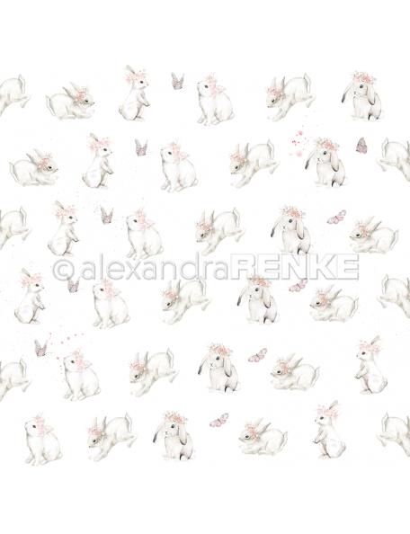 Alexandra Renke Cardstock de una cara 30,5x30,5 cm, Conejitos con coronas/Häschen mit Kränzen
