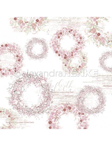 Alexandra Renke cardstock de una cara 30,5x30,5cm, Coronas de color rosa/Rosafarbene Kränze