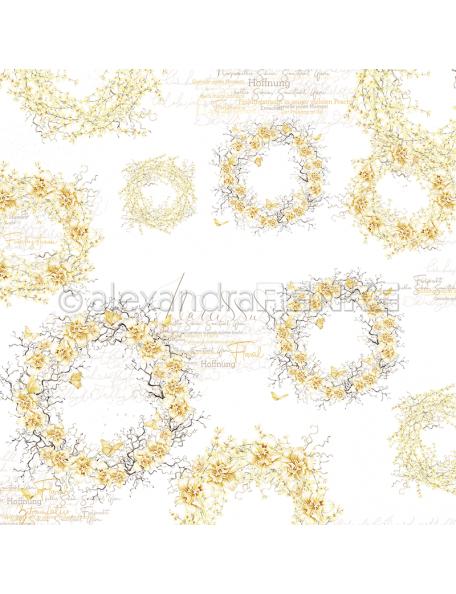 Alexandra renke cardstock de una cara 30,5x30,5cm, Coronas de color amarillo/Gelbfarbene Kränze