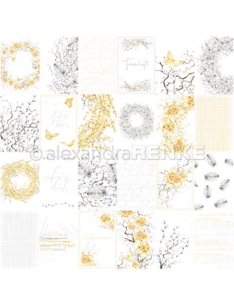 Alexandra renke cardstock de una cara 30,5x30,5cm, Tarjeta en amarillo y gris/Kärtchenbogen traumhaft in gelb und grau