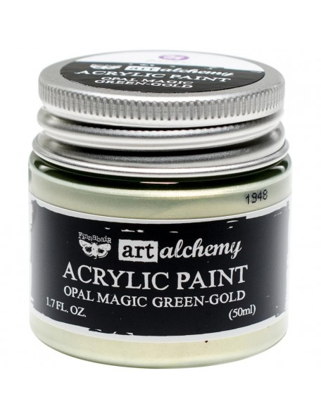 prima marketing Finnabair Art Alchemy Opal Magic Acrylic Paint1.7 Fl Oz, Opal Magic Green/Gold