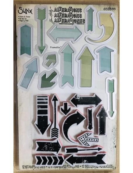 Sizzix Framelits set de troquel y sello de Tim Holtz, aqui y alla/Here & There