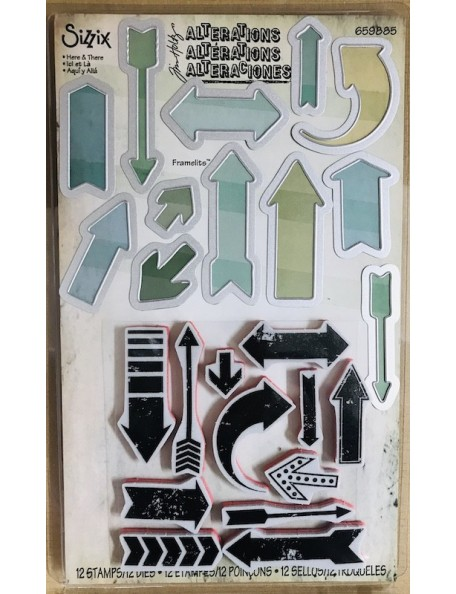 Sizzix Framelits set de troquel y sello de Tim Holtz, Here & There