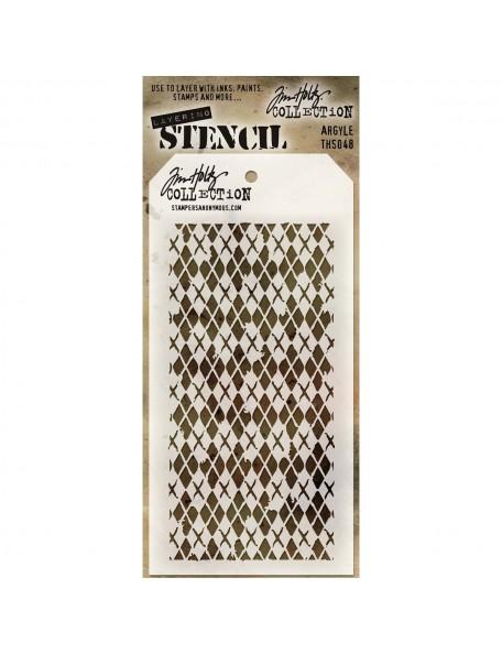 """Tim Holtz Layered Stencil 4.125""""X8.5"""", Argyle"""