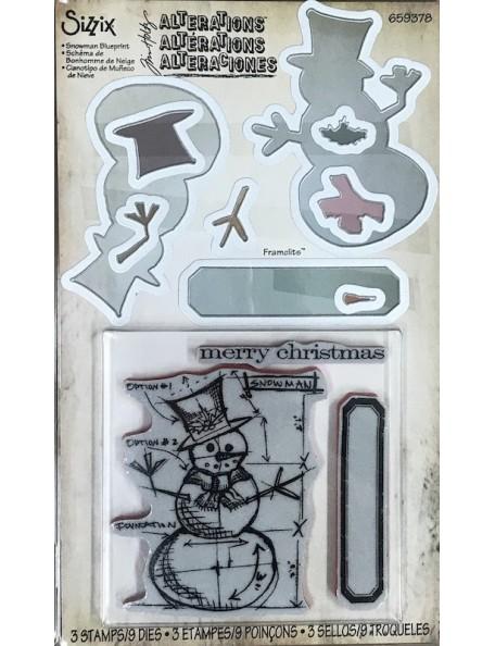 Sizzix Framelits troquel y sello de Tim Holtz, Plano de muñeco de nieve/Snowman Blueprint