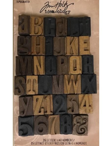 "Tim holtz Idea-Ology Letras de madera tipográficas/Letterpress Letters 35Alphabet & Numbers 1"""
