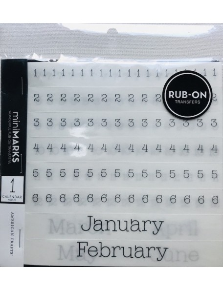american crafts Mini Marks Rub-On Libros-calendario numeros y meses/Numbers & Months