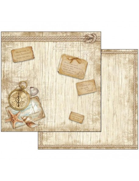 "Stamperia Cardstock de doble cara 12""X12"", Sea Land Compass sbb540"