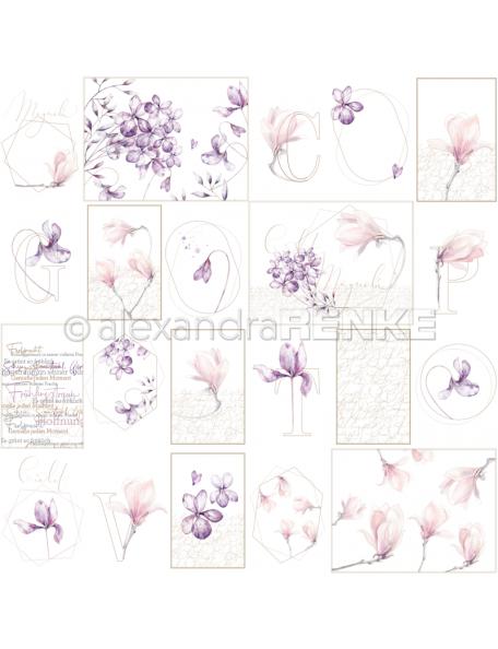 alexandra renke cardstock de una cara 30,5x30,5cm, Tags Geometría de la flor/Kärtchenbogen rose Blumengeometrie