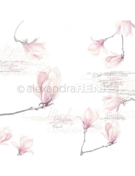 alexandra renke cardstock de una cara 30,5x30,5cm, flores de magnolia/Magnolienblüten