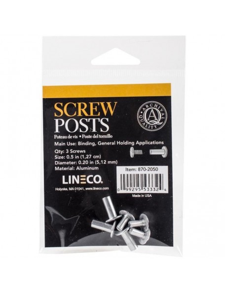 Lineco Bookbinding Aluminum Screw Posts 3/Pkg-.5""