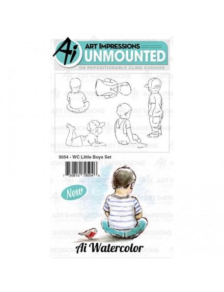 Art Impressions acuarela/Watercolor sello, Niños pequeños/Little Boys