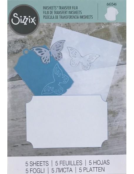 """Sizzix hojas de calco/Transfer Film hojas 4""""X6"""" 5, blanco-White"""