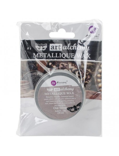 prima marketing Finnabair Art Alchemy Metallique Wax .68 FluidOunce, Old Silver