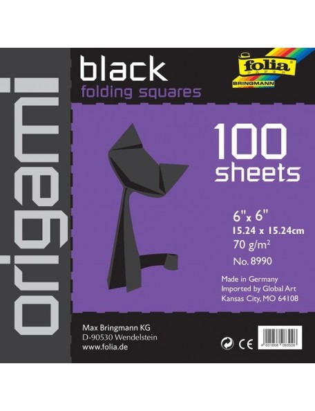 "Folia Solid papel Origami 6""X6"" 100, negro-Black"