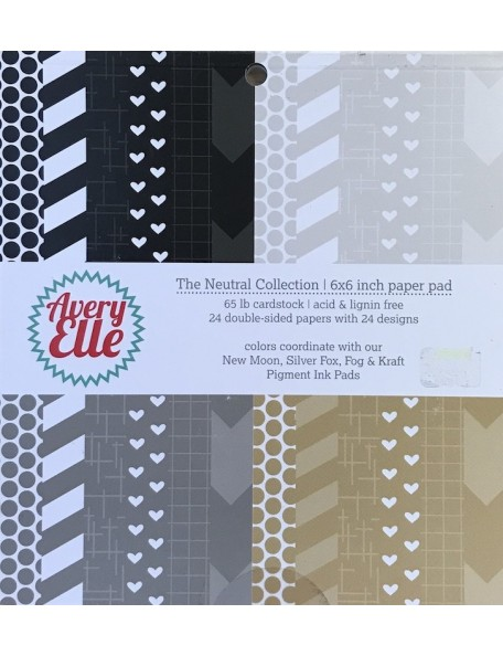 "Avery Elle cardstock de doble cara Paper Pad 6""X6"" 24, Neutral, 12 dibujos/2 de cada"