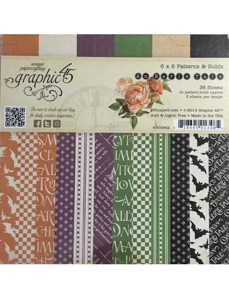 "Graphic 45 An Eerie Tale Paper Pad cardstock de doble cara 6""X6"" , 12 dibujos/3 de cada"