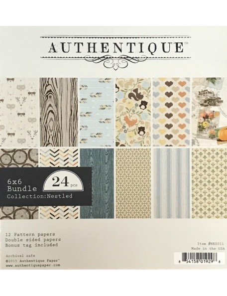 "Authentique Double-Sided Cardstock Pad 6""X6"" 24, Nestled, 12 Designs/2 Each"