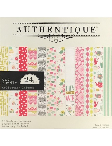 "Authentique Double-Sided Cardstock Pad 6""X6"" 24, Infused, 12 Designs/2 Each"
