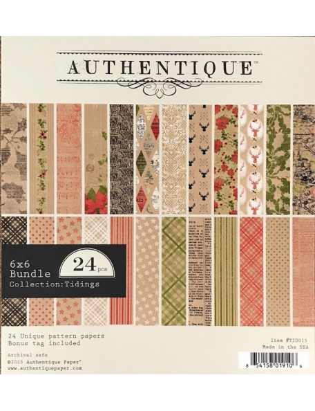 "Authentique Cardstock de doble cara Pad 6""X6"" 24, Tidings, 12 diseños/2 de cada"
