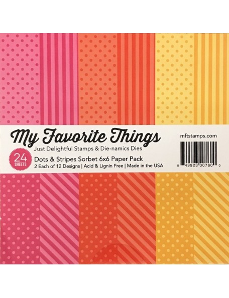"My Favorite Things Single-Sided Paper Pad 6""X6""24, Dots & Stripes, 12 Designs/2 Each"