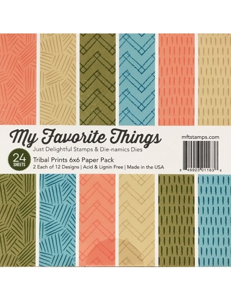 "My Favorite Things Paper Pad cardstock de una cara 6""X6""24, Tribal Prints, 12 diseños/2 de cada"