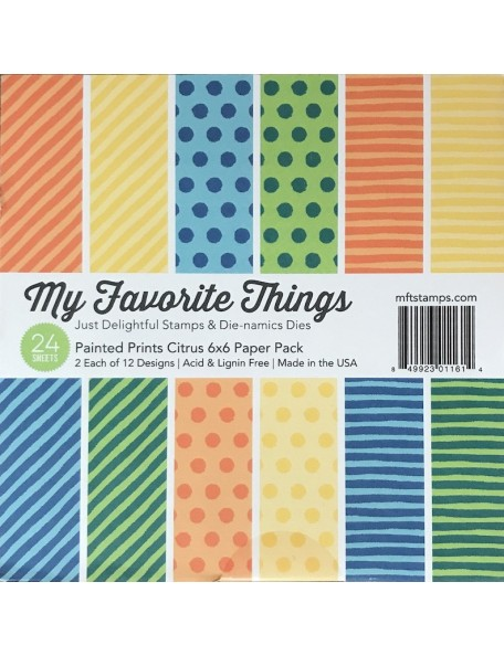 "My Favorite Things Paper Pad cardstock de una cara 6""X6""24, Painted Prints Citrus, 12 diseños/2 de cada"