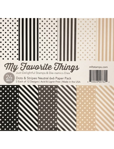 "My Favorite Things Paper Pad cardstock de una cara 6""X6""24, Dots & Stripes Neutral, 12 diseños/2 de cada"