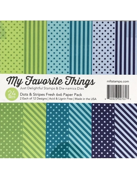 "My Favorite Things Paper Pad cardstock de una cara 6""X6""24, Dots & Stripes Fresh, 12 diseños/2 de cada"