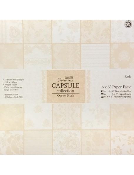 "Papermania Oyster Blush Paper Pack cardstock de una cara 6""x6"" 32 diseños/1 de cada"