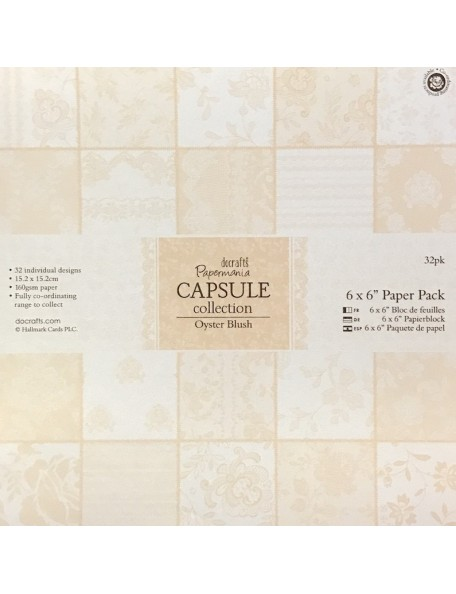 """Papermania Single-Sided Paper Pack 6""""X6"""" 32, Oyster Blush, 32 Designs/1 Each"""