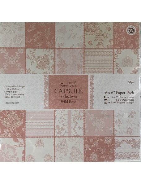 """Papermania Paper Pack cardstock de una cara 6""""X6"""" 32, Wild Rose, 32 diseños/1 de cada"""
