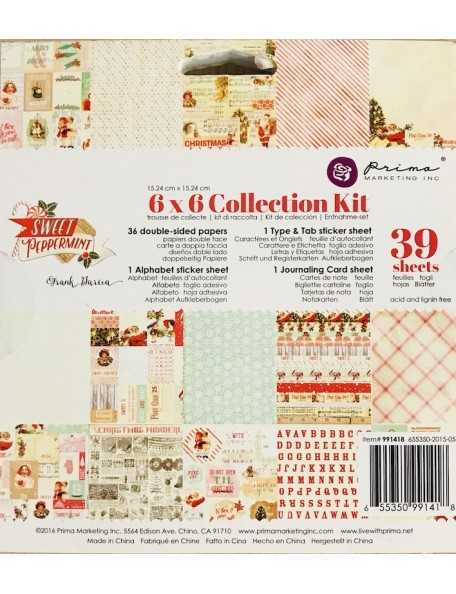 "Prima Marketing Sweet Peppermint Collection Kit cardstock de doble cara 6""X6"", 39 hojas"