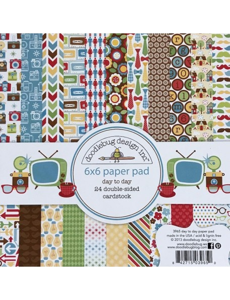 "doodlebug Day To Day Paper Pad cardstock de doble cara 6""X6"" 24 hojas"