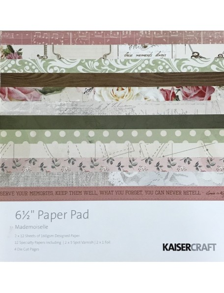"Kaisercraft Paper Pad single side 6.5""X6.5"" 40, Mademoiselle"