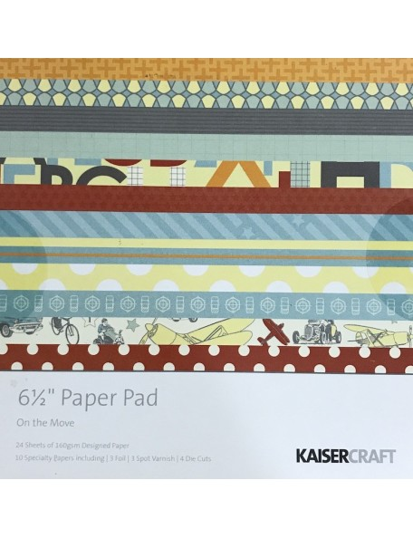 "Kaisercraft On The Move Paper Pad 6.5""X6.5, 40 Sheets"
