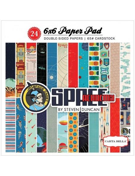 """Carta Bella Space Academy Paper Pad cardstock de doble cara 6""""X6"""" 24 hojas, 12 dibujos/2 de cada"""