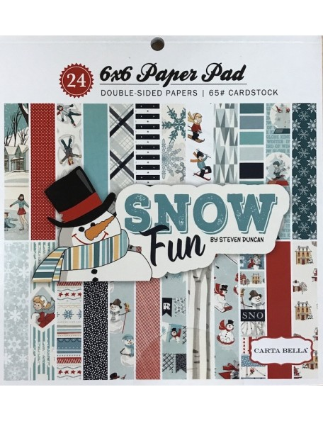 "Carta Bella Snow Fun Paper Pad cardstock de doble cara 6""X6"" 24, 12 dibujos/2 de cada Snow Fun"