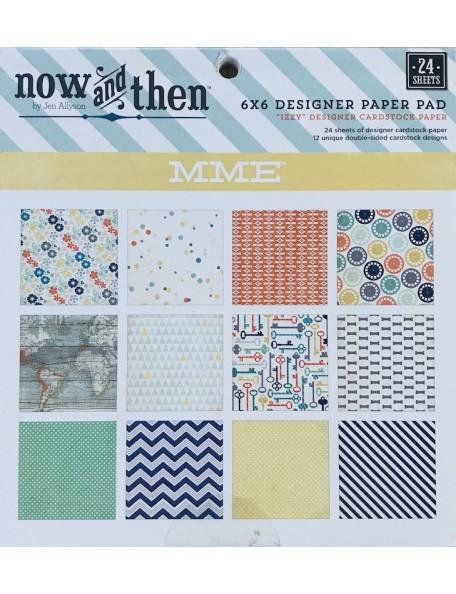 "My Mind'S Eye Now & Then Izzy Paper Pad cardstock de doble cara 6""X6"" 24 hojas"