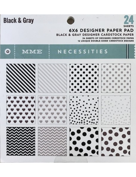 "My Mind'S Eye Paper Pad cardstock de doble cara 6""X6"" 24 hojas, Necessities/Black & Gray"