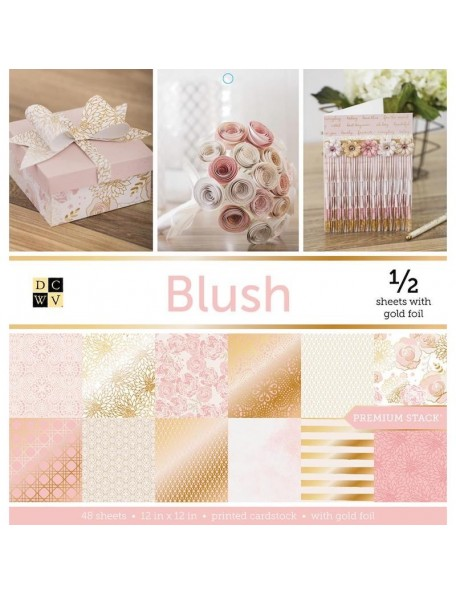 "DCWV Single-Sided Cardstock Stack 12""X12"" 48, Blush, 24 Designs/2 Each, 12 W/Foil"