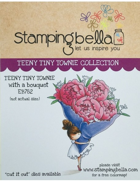 Stamping Bella Cling Stamps, Teeny Tiny Townie With A Bouquet