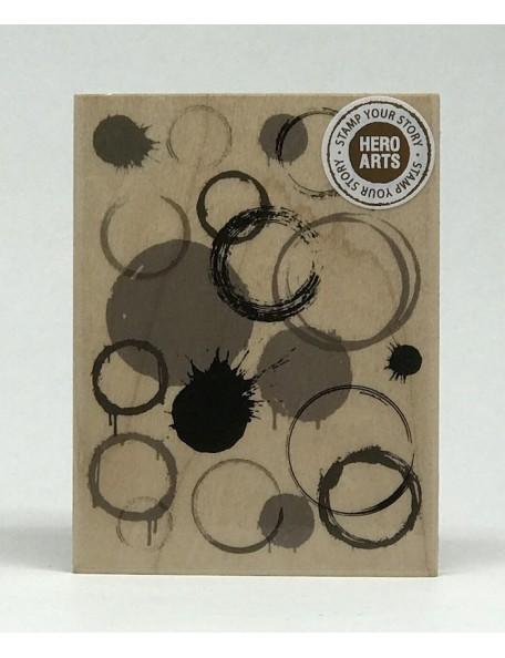 Hero Arts sello de madera, manchas en circulo